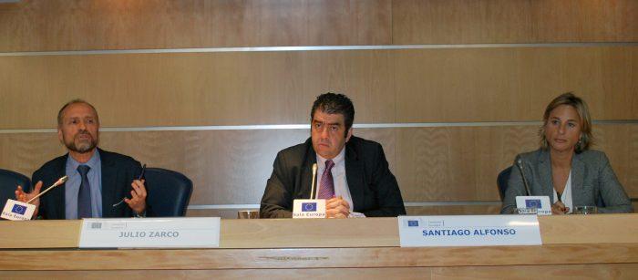 Julio Zarco, Santiago Alfonso y Begoña Gómez.