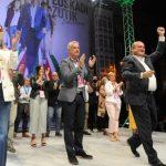 Urkullu y dirigentes del PNV muestran tras su triunfo en las elecciones